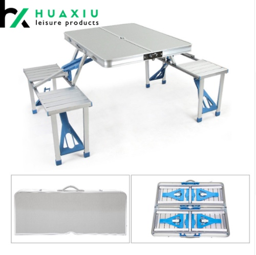 Aluminum Folding Camping Table Portable Outdoor Suitcase Picnic Table with 4 Connected Seats