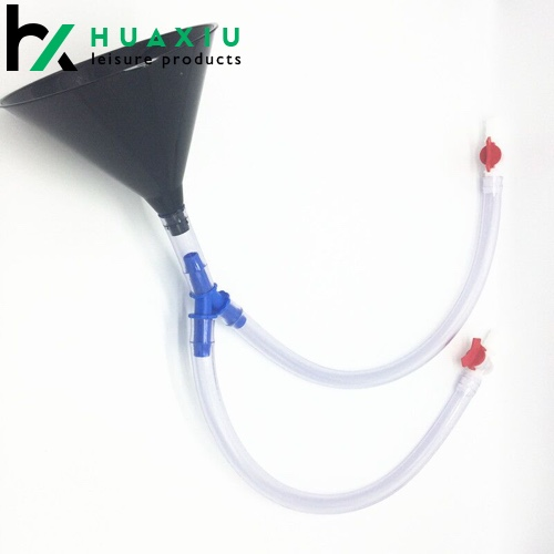 high quality double header beer bong funnel with valve and 40 inch long tube